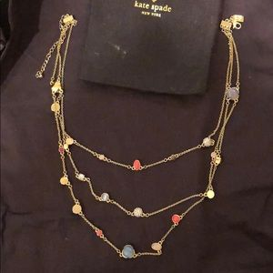 Kate Spade Three strand colorful gold necklace
